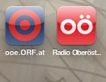 Icons für ooe.ORF.at und Radio-OÖ-Live-Player auf iPhone