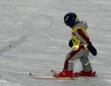 Skikurs: Skilehrer fährt voraus, kleine Kinder fahren im Schneepflug hinten nach.
