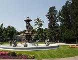 Grazer Stadtpark; Brunnen mit Forum Stadtpark im Hintergrund