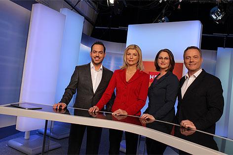 """Wien heute""-Moderatoren Patrick Budgen, Elisabeth Vogel, Ulrike Dobes und Paul Tesarek"