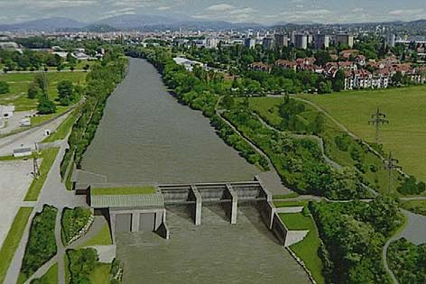 Plakatausschnitt: Entwurf des Murkraftwerks Graz-Puntigam