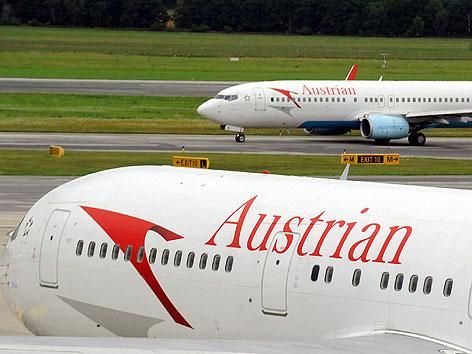 Flugzeuge der AUA am Flughafen Wien-Schwechat