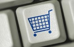 Tastatur mit Einkaufswagen, Internetshopping