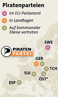 Grafik: Piratenparteien in Europa