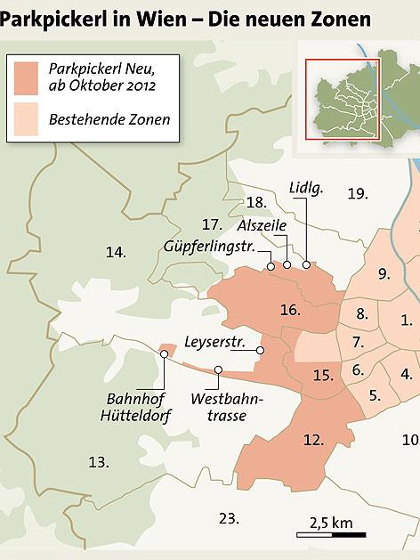 Neue Parkpickerl-Zonen in Wien ab Oktober 2012
