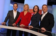 &#8222;Wien heute&#8220;-Moderatoren Patrick Budgen, Elisabeth Vogel, Ulrike Dobes und Paul Tesarek<br />