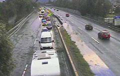 Umgestürzte Bäume ragen in Autobahn hinein