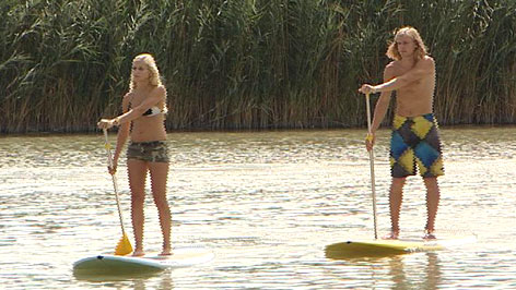 Stand Up Paddling auf dem Neusiedler See
