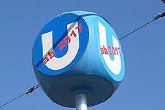 """Hinweisschild """"U1 ab 2017"""" beim neuen Infozentrum am Alten Landgut in Wien-Favoriten"""