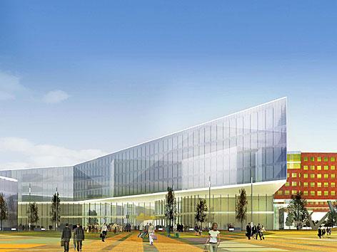 Visualisierung des Krankenhauses Nord, das 2015 teilweise in Betrieb gehen soll
