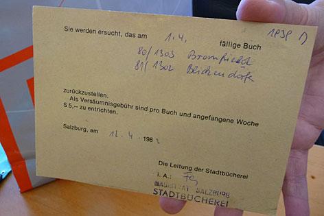 Alte Mahnung der Stadtbibliothek Salzburg, die fast 30 Jahre unterwegs war