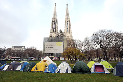 Protestcamp im Sigmund-Freud-Park