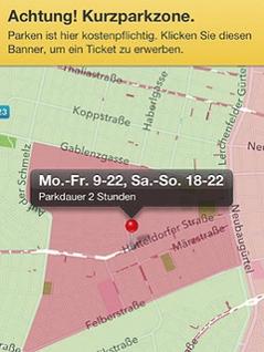 """Screenshot der App """"Parken Wien"""""""