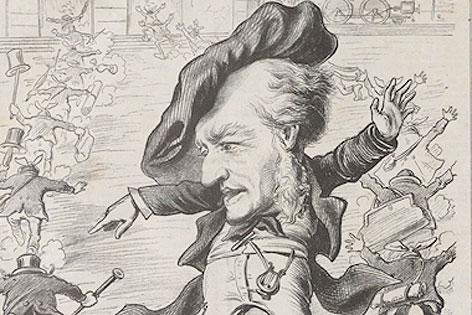 """Karikatur zu den Bayreuther Festspielen aus """"Kikeriki"""", 1876"""