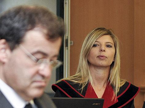 BAWAG Prozess Angeklagter Wolfgang Flöttl und Staatsanwältin Sonja Herbst