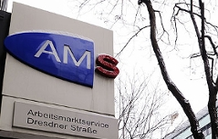 Schild AMS beim Arbeitsmarktservice Dresdner Straße in Brigittenau