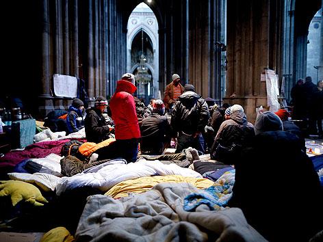 Flüchtlinge in der Wiener Votivkirche