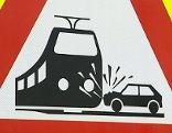 Eisenbahnkreuzung, Warnschild, Bahnübergang