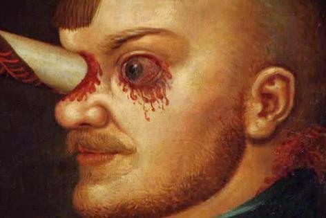 Ölgemälde von Gregor Baci mit Lanze durch den Kopf