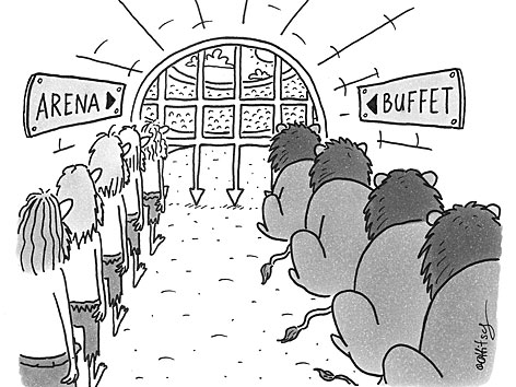 """Karikatur: links in einem Tunnel stehen Menschen an, rechts Löwen. Am Schild über den Löwen steht """"Buffet"""""""