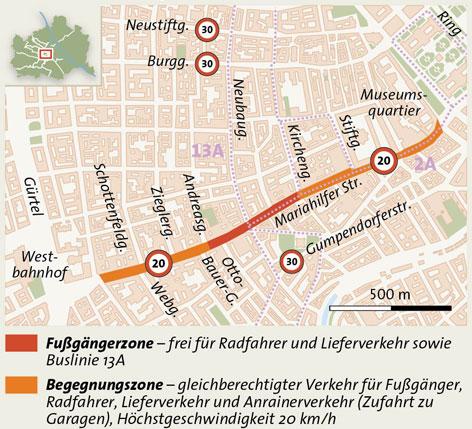 Grafik Verkehrskonzept Mariahilfer Straße Neu