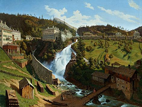 """""""Das Wildbad Gastein mit seinem herrlichen Wasserfall"""" von Hubert Sattler"""