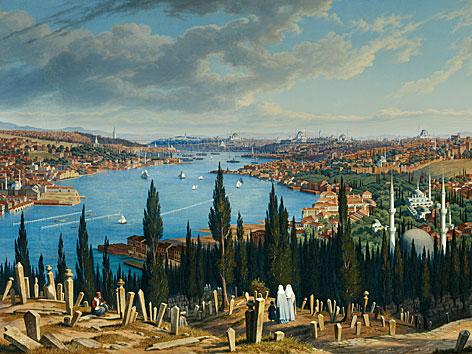 Ansicht von Istanbul des Landschaftsmalers Hubert Sattler. Palmen und ein Friedhof im Vordergrund, im Hintergrund sind zahlreiche Moscheen zu sehen