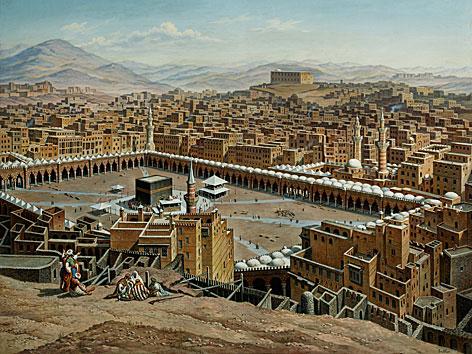 Landschaftsgemälde von Mekka des Salzburger Malers Hubert Sattler