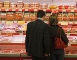 Supermarkt, Einkaufen, Fleisch, Wurst, Theke