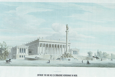 Zweiter Entwurf für das Herrenhaus (Parlament), Theophil Hansen 1873-1883