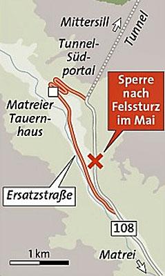 Ersatzstraße auf Felbertauernstrecke