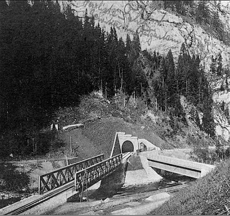 Alte Klammsteinbrücke bei Dorfgastein - Bau im Jahr 1906 - Postkarte