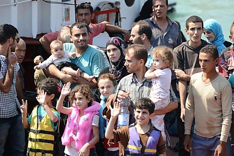 Syrische Flüchtlinge bei Catania (Italien)