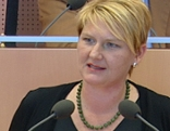 Halga Krismer-Huber von den Grünen bei einer Landtagssitzung