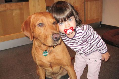 Lawinenhund Phil mit Mädchen