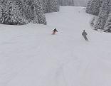 Skifahrer im Neuschnee