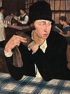 Lotte Laserstein, Im Gasthaus, 1927, Öl auf Holz, 54 x 46 cm