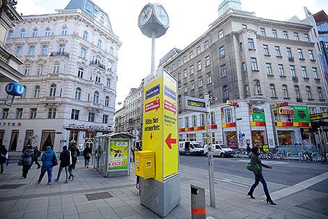 Informationssäule zur Verkehrsberuhigung Mariahilfer Straße