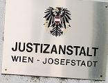 """Schild mit der Aufschrift """"Justizanstalt Wien - Josefstadt"""""""
