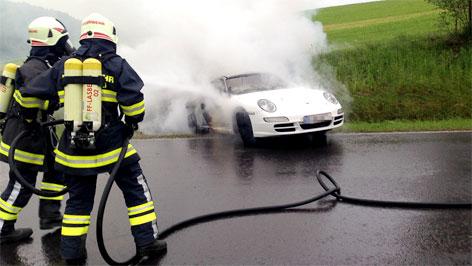 Brennender Elektro-Porsche