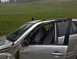 Beschädigtes Auto nach dem Absturz über die Wiese