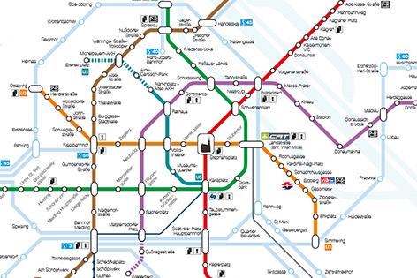 Netzpaln der Wiener Linien mit türkis eingezeichneter U5