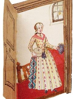 Eine Frau hinter einer aufklappbaren Tür aus Papier zur Zeit Mozart