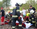 Feuerwehreinsatz nach Unfall mit Schienenrad