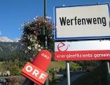 Ortstafel von Werfenweng + ORF-Mikro