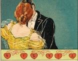 Küssendes Paar, darunter Schrift