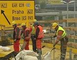 Bauarbeiter auf der Baustelle Knoten Prater Erdbergbrücke