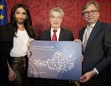 Conchita Wurst, Bundespräsident Heinz Fischer, ORF-Generaldirektor Alexander Wrabetz