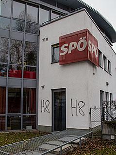 Neonazi Schmierereien auf dem SPÖ Parteihaus in Salzburg Mülln