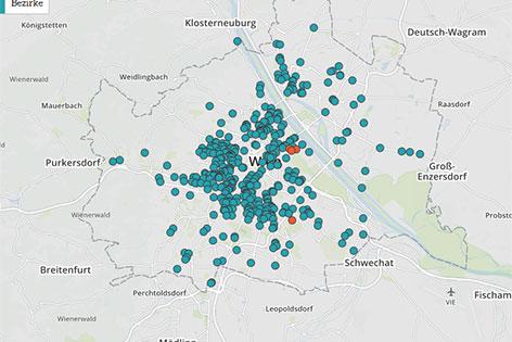 Karte Wien mit Automatenverteilung